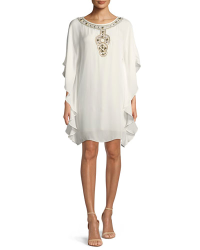 Anissa Double-Georgette Kaftan Dress