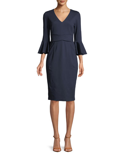 Begonia Ponte Trapunto-Stitch Bell-Sleeve Dress