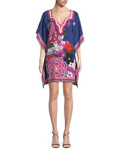 Theodora Greenhouse Floral Silk Kaftan Dress