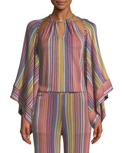 Exquisite Daybreak Stripe-Knit Open Jacket