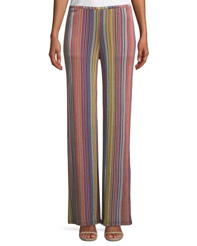 Penelope Daybreak Stripe-Knit Wide-Leg Pants