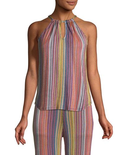 Amirah Daybreak Stripe-Knit Halter Top