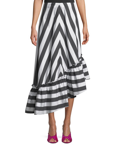 Rosamund Awning Stripe Shirting High-Low Skirt