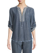 Kaiko Chambray Half-Zip Shirt
