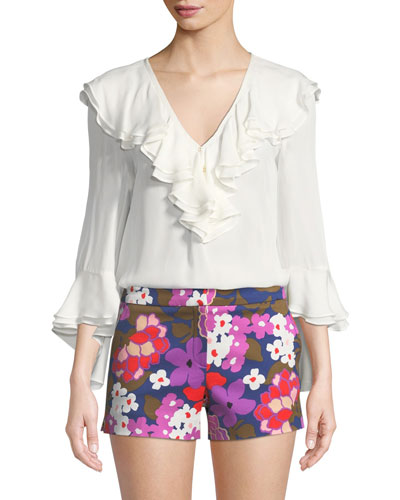 Lantana Georgette Tiered Ruffle Blouse