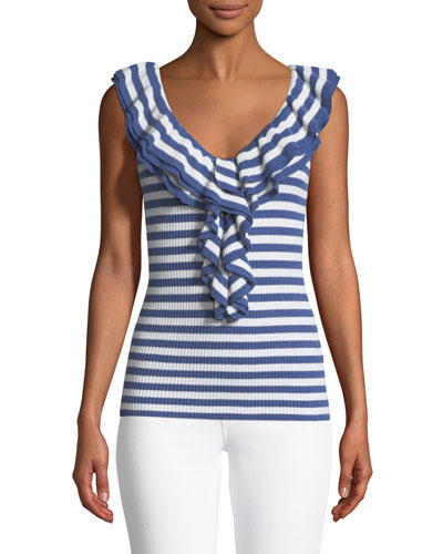 Quill Ruffle-Neck Ribbed Tank Top