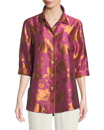 Summer Social Jacquard Cocktail Shirt, Plus Size