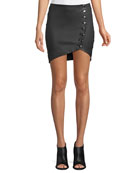 Clefa Leather Button-Up Mini Skirt