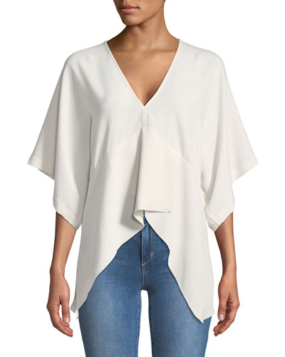 Ekala V-Neck Bell-Sleeve Crepe Top