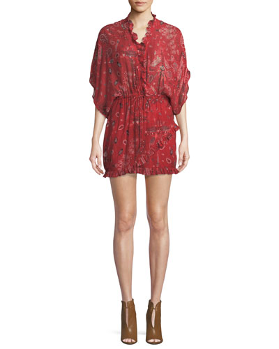Bamanta Half-Sleeve Paisley-Print Short Dress