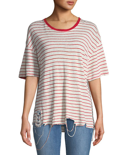 Conah Frayed Short-Sleeve Striped Linen Top