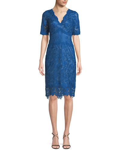 Scalloped V-Neck Lace Cocktail Dress