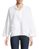 3D Embroidery Collared Shirt