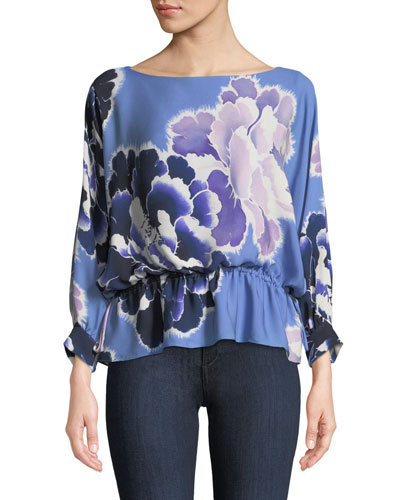 New Poet Floral Peplum Blouse