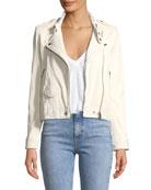 Mazey Zip-Front Leather Moto Jacket