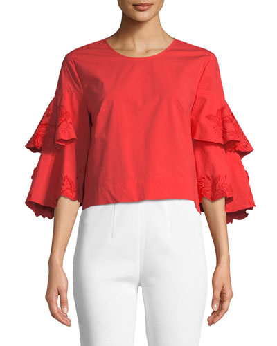 Tiered-Sleeve Combo Tee Neiman Marcus Cheap Pre Order Fashionable Cheap Online Discount 2018 Order Cheap Online m9zQShn