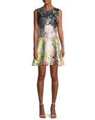 Ruffle-Hem Sleeveless Floral Matelasse Mini Dress