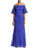 Lace Off-the-Shoulder Long Gown