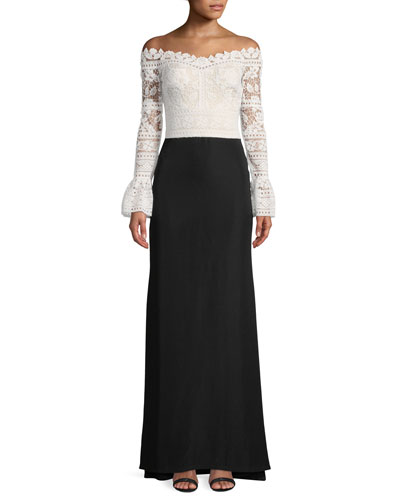 Crochet-Lace Bell-Sleeve Crepe Gown