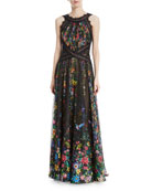 Chiffon Halter Open-Back Floral-Motif Gown