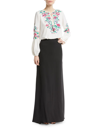Embroidered Self-Tie Floral Crepe Dress