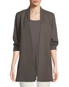 3/4-Sleeve Draped Long Jacket, Petite