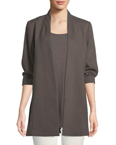 3/4-Sleeve Draped Long Jacket, Petite