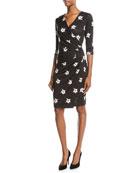 Marine Orchid-Print Jersey Wrap Dress