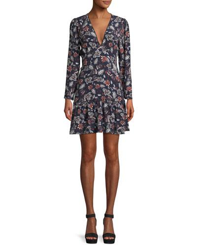 Lon-Sleeve V-Neck Floral-Print Dress