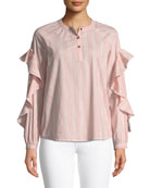 Striped Ruffled Long-Sleeve Henley Cotton Top