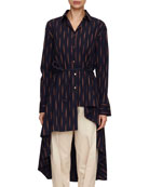 sequel button-down asymmetric high-low cotton shirt