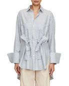tie-front button-front striped cotton boyfriend shirt