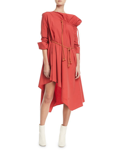Gallery Long-Sleeve Belted Cotton Dress