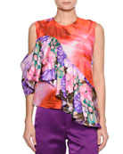 Sleeveless Mixed-Print Silk Satin Top w/ Ruffled Frill
