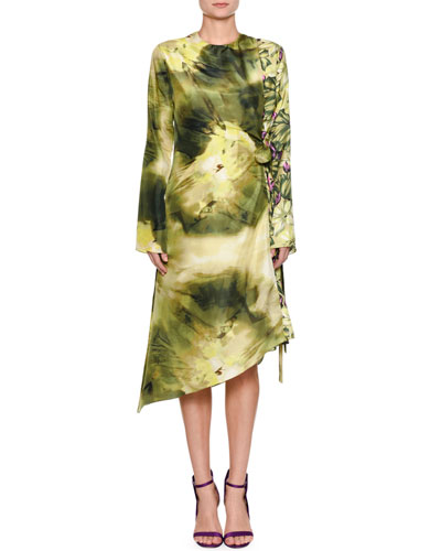 Long-Sleeve Mixed-Print Asymmetric Silk Dress