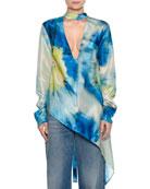 Long-Sleeve Abstract-Print Silk Blouse w/ Asymmetric Hem