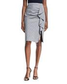 Playful Plaid Ruffle Pencil Skirt