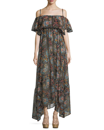Celestina Off-the-Shoulder Printed Maxi Dress
