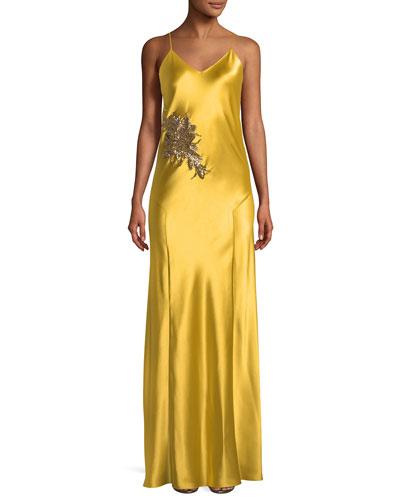 Carmen Embellished V-Neck Gown