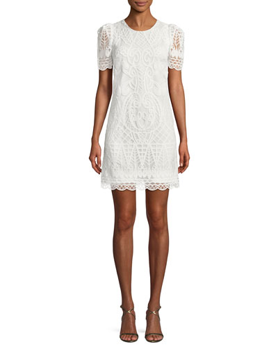 Embroidered Organza Mini Cocktail Dress