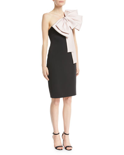 Two-Tone Bow-Shoulder Cocktail Dress