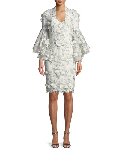 3D Floral Appliqué Bell-Sleeve Cocktail Dress
