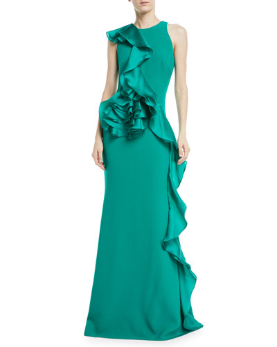 Sleeveless Sculpt Flower Gown w/ Asymmetric Ruffle