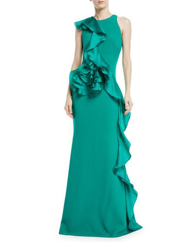 Sleeveless Sculpt Flower Gown w/ Asymmetric Ruffle