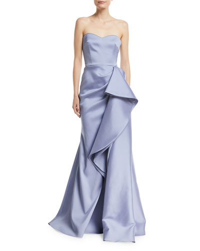 Strapless Mikado Bustier Gown w/ Asymmetric Ruffle