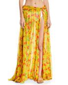 Hera Floral-Print Sheer Coverup Skirt