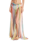 Hera Striped-Print Sheer Coverup Skirt