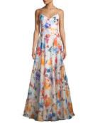 Alana Floral-Print Silk Gazar Gown