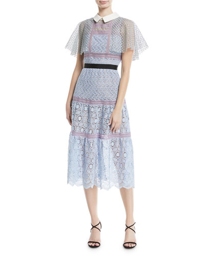 Floral-Lace Guipure Lace Cape Midi Cocktail Dress