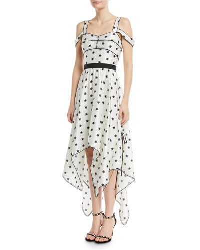 Printed Star Sleeveless Handkerchief Cocktail Dress